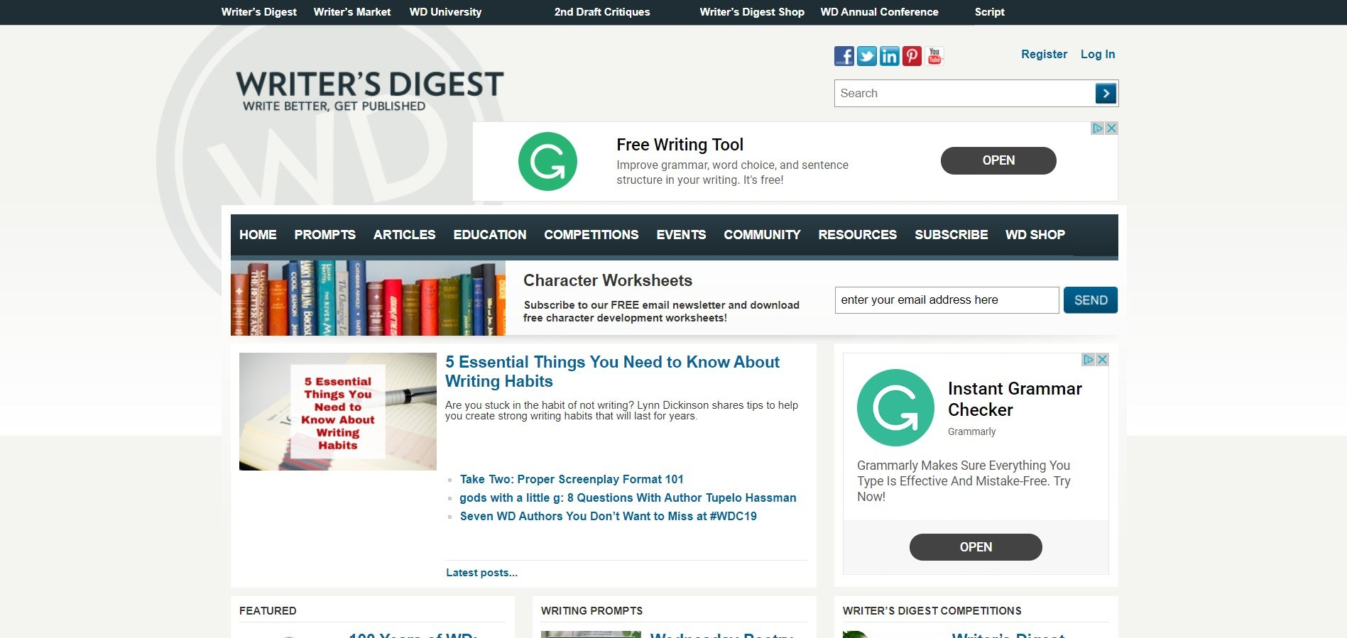 This basic screenshot has a small photo of a shelf of books as well as advertisements for Grammarly and blue and black text on the page.