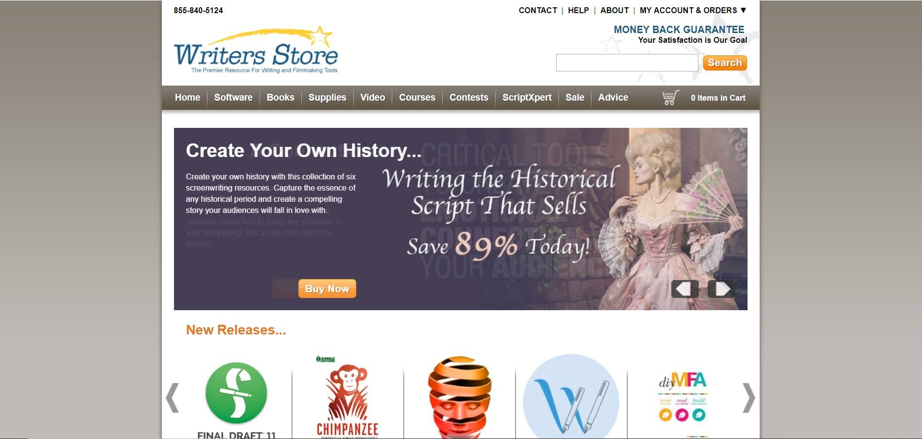 This screenshot includes a photo of a woman in a historical ball gown and white text inviting readers to create their own history.