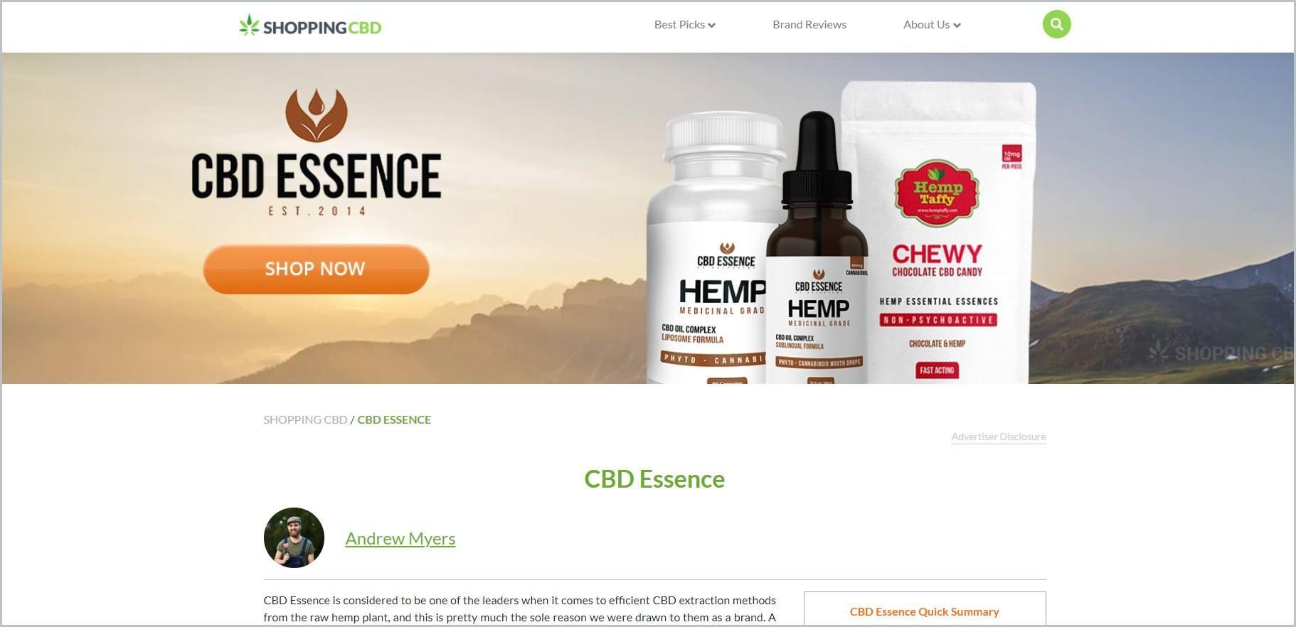 screenshot of CBD Essence homepage