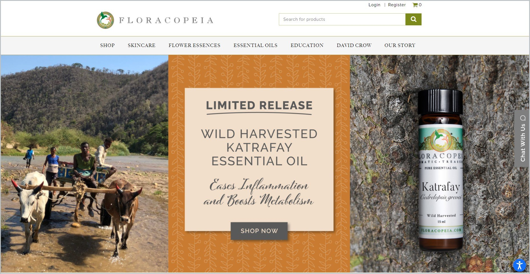 screenshot of Floracopeia homepage with image of a bottled essential oil and local farmers