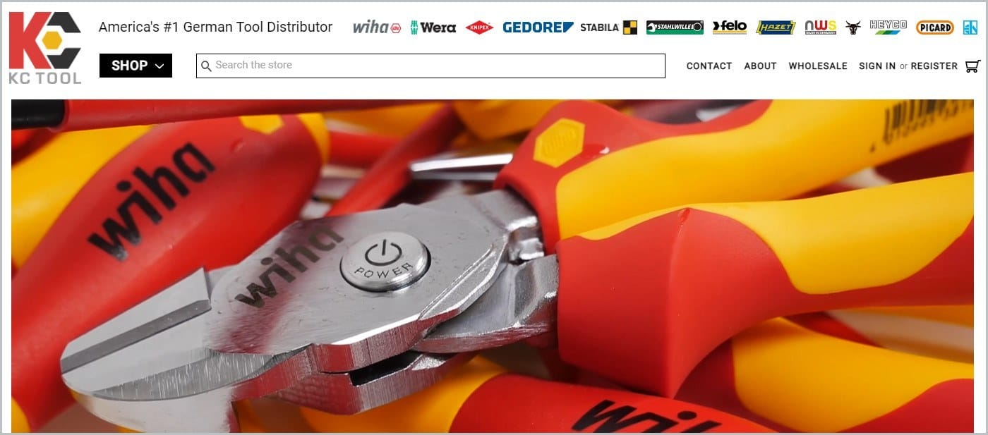 screenshot of KC Tool homepage with a closeup picture of a tool for main image