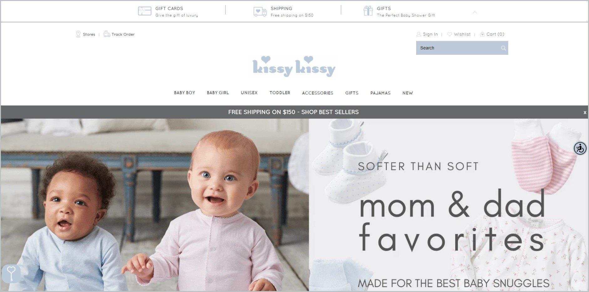 screenshot of Kissy Kissy homepage