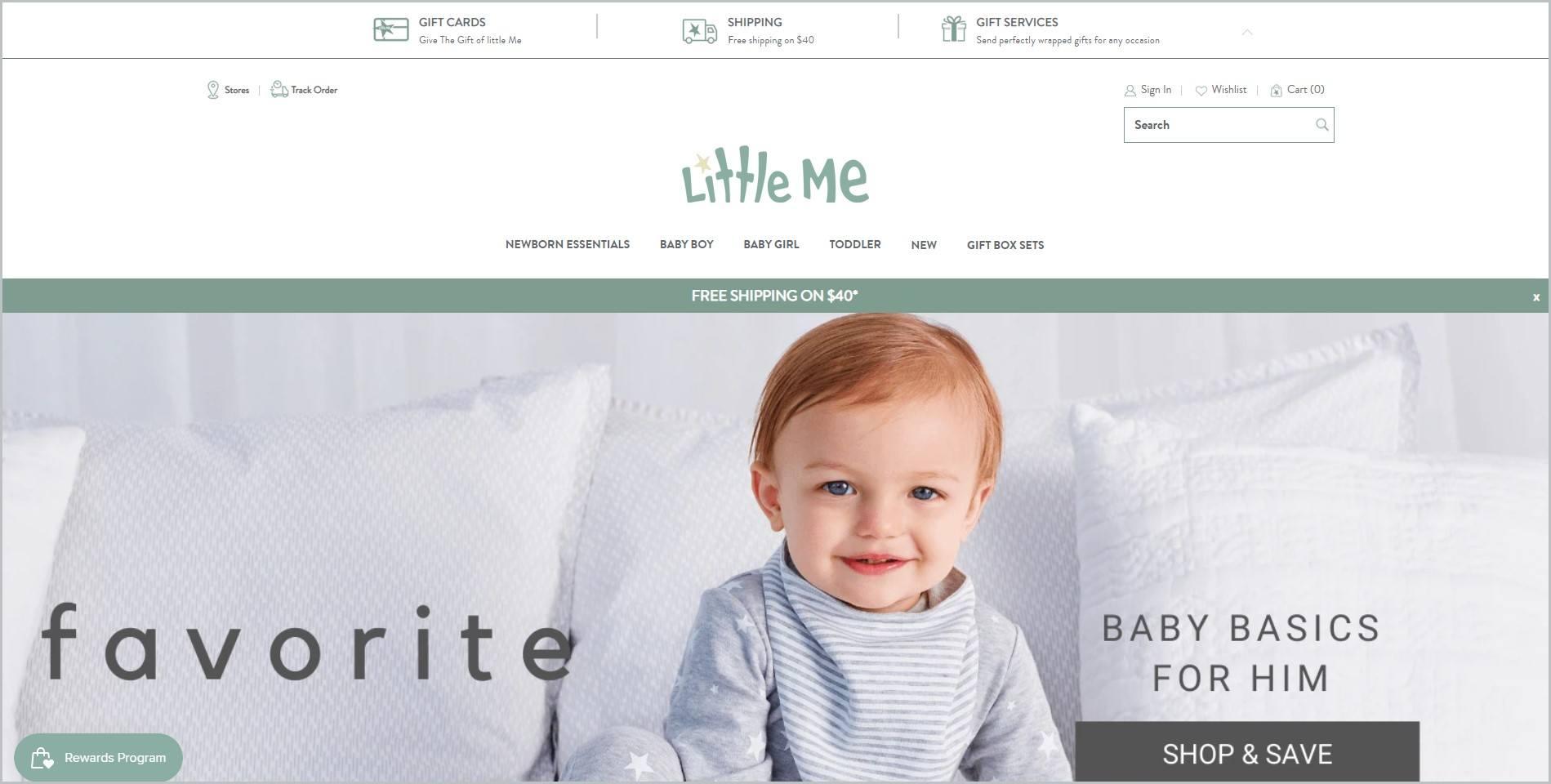 screenshot of Little Me homepage
