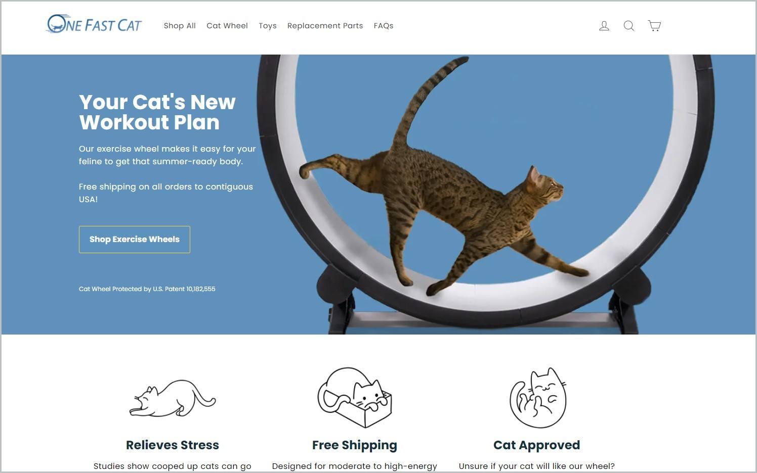 screenshot of One Fast Cat homepage