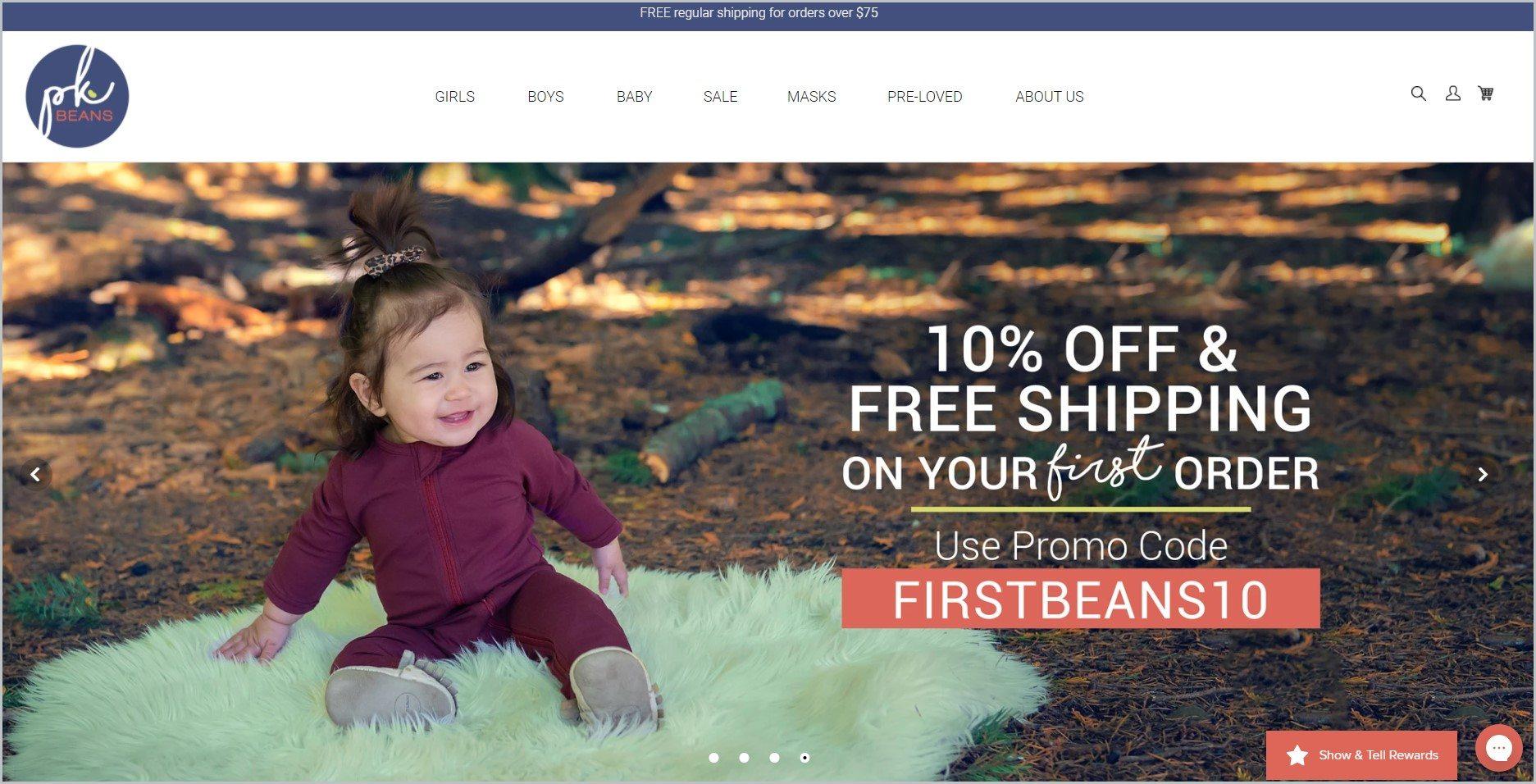 screenshot of PK Beans homepage