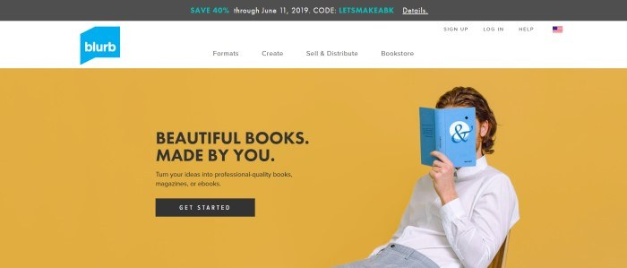 This screenshot of the home page for Blurb shows a plain orange background, with a man in a white shirt in front of it, hiding his face behind a blue book, near some black text that reads 'Beautiful Books Made By You.'