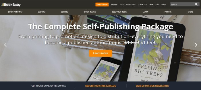 This screenshot of the home page for Book Baby shows an e-book reader and a phone, both with a book pulled up on the screen, and the words 'The Complete Self-Publishing Platform' in white lettering.