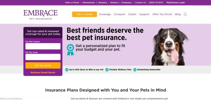 This screenshot of the home page for Embrace Pet Insurance has a lavender background with the photo of a black and white dog, along with the words