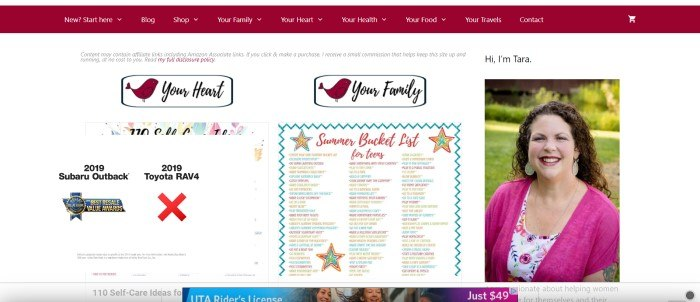 This screenshot of the Feels Like Home blog includes a photo of a smiling woman in a hot pink shirt, as well as an advertisement box and a list of things that teens should do during the summer.