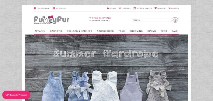 This screenshot of the home page for Funny Fur shows five sets of pet clothing laid flat against barn wood.
