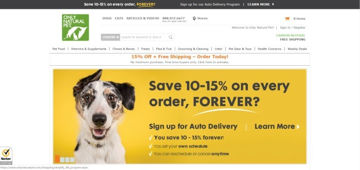 This screenshot of the home page for Only Natural Pet shows a floppy-eared dog against a yellow background containing a sales pitch.