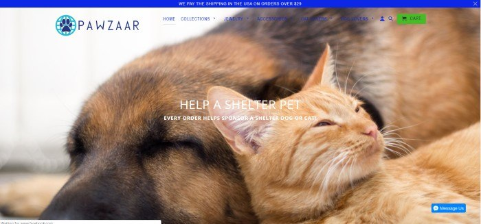 This screenshot of the home page for Pawzaar shows an orange cat sleeping next to a brown dog against a white background.