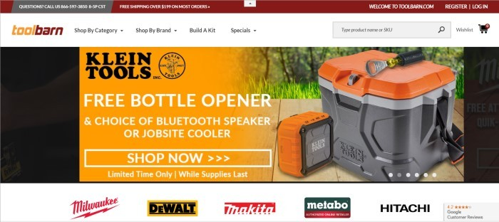 This screenshot of the home page for Tool Barn shows several icons for tool brands across the bottom of the page, along with the logo at the top of the page and an advertisement on a black and orange background for a free bottle opener from Klein Tools.