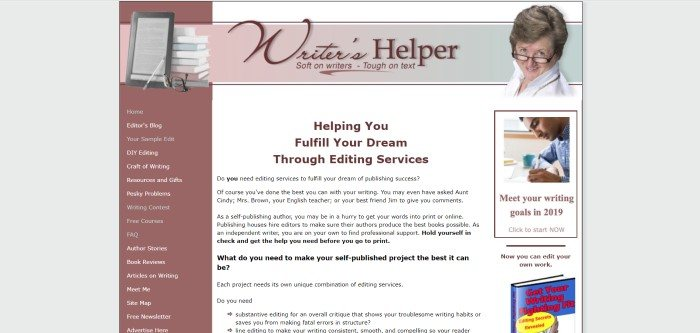 This screenshot of the home page for Writer's Helper has a mauve sidebar on the left listing the company's editing services, a white section with black text in the center of the page, and a photo of the administrator and editor in the upper right-hand corner.