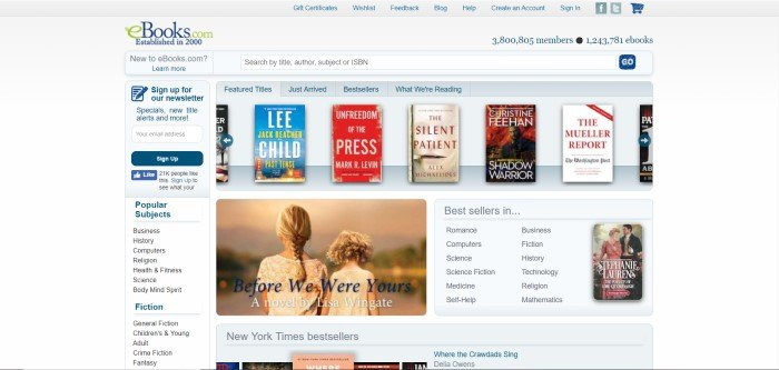 This screenshot of the home page for eBooks.com shows the images of several books, which are available on this website, against a white background.