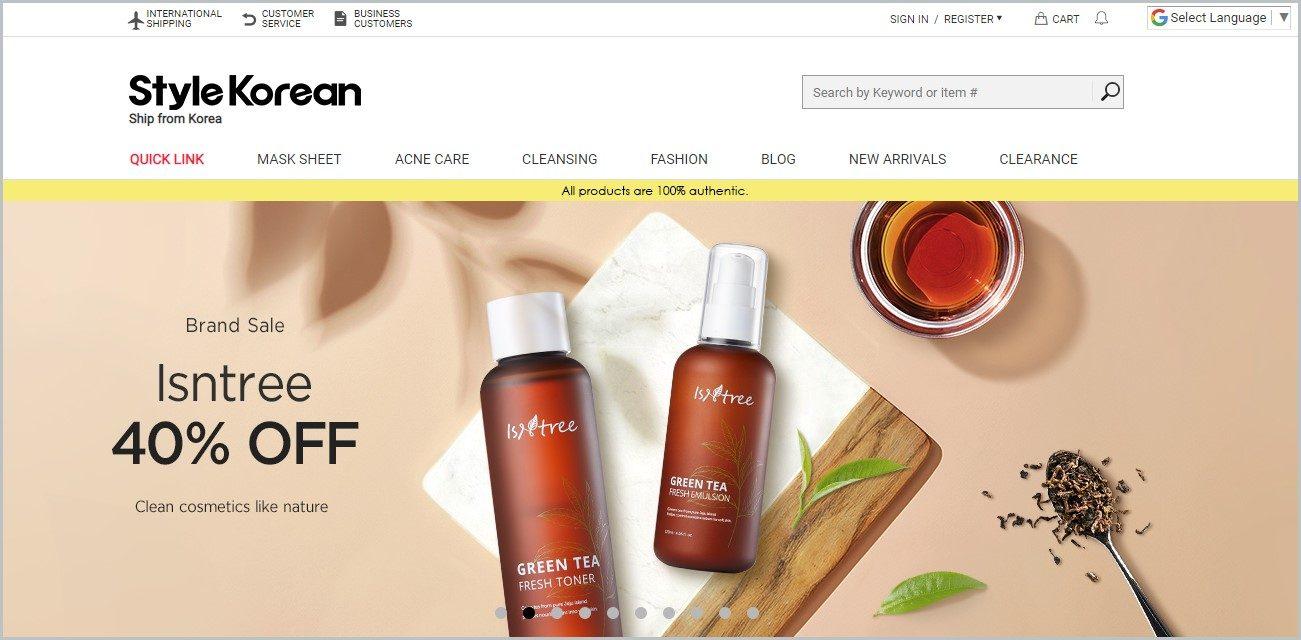 screenshot of Style Korean homepage