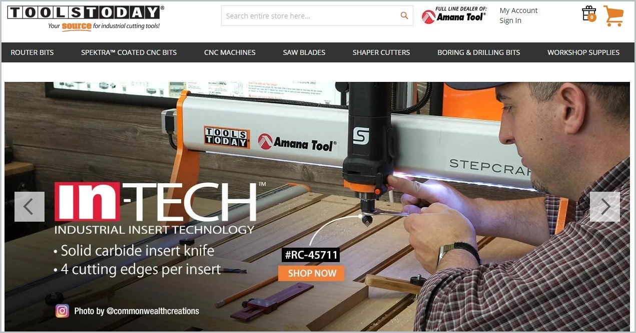 screenshot of ToolsToday homepage with an image showcasing a man working on a woodworking project