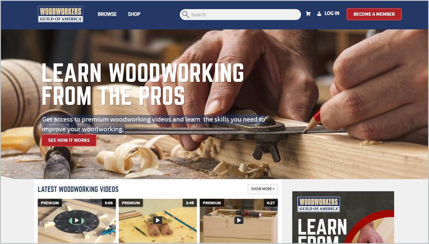 screenshot of Woodworkers Guild of America homepage with a closeup image of woodworker's hands currently working on a project for main image