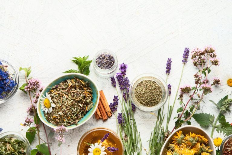 dried herbs of various kinds in variated bowls to represent herbal affiliate programs