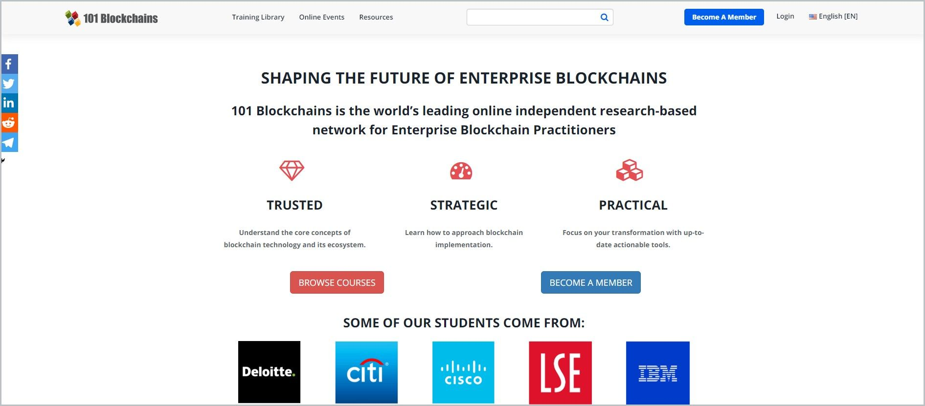 screenshot of 101 Blockchains homepage with white header bearing the website's name and main navigation menu