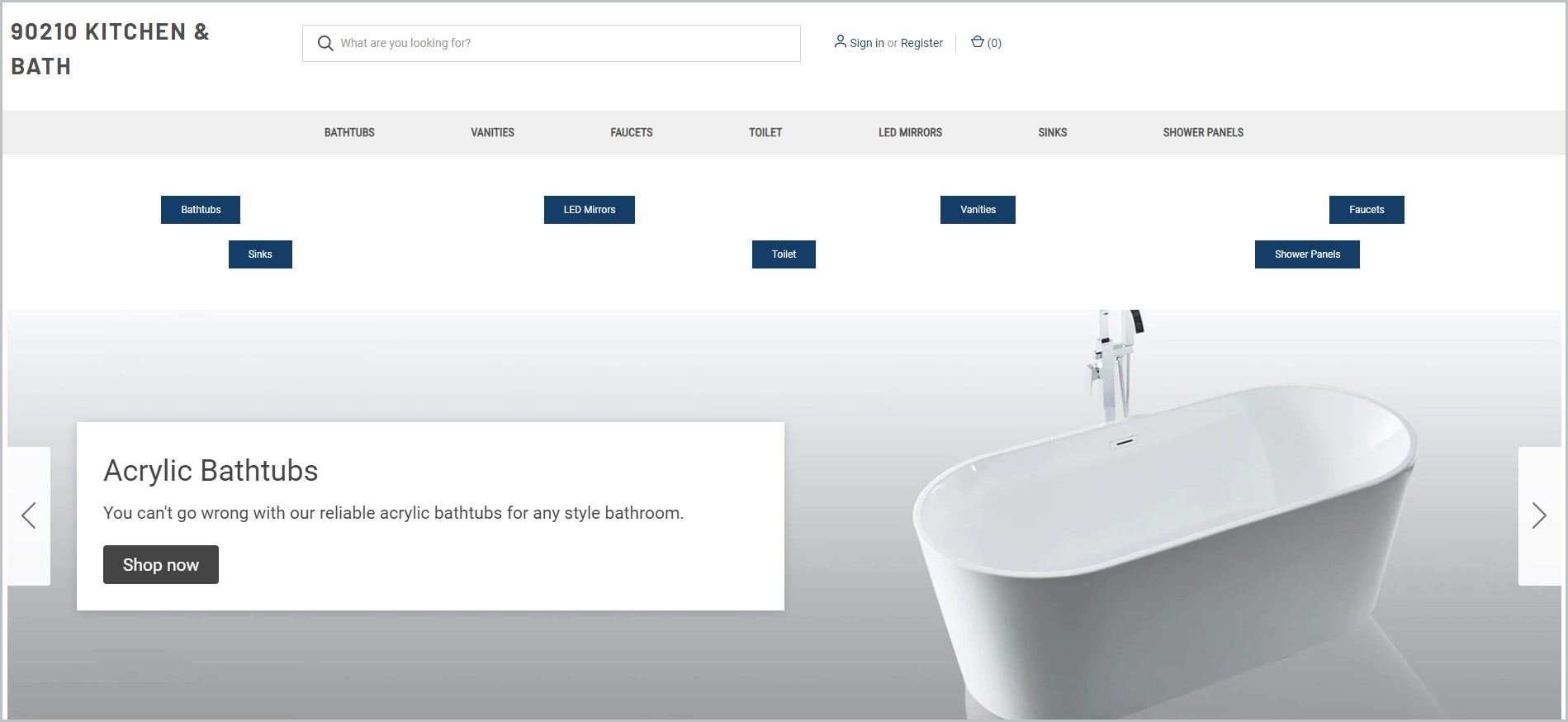 screenshot of 90210 Kitchen & Bath homepage, with a picture of a white bath tub for main image