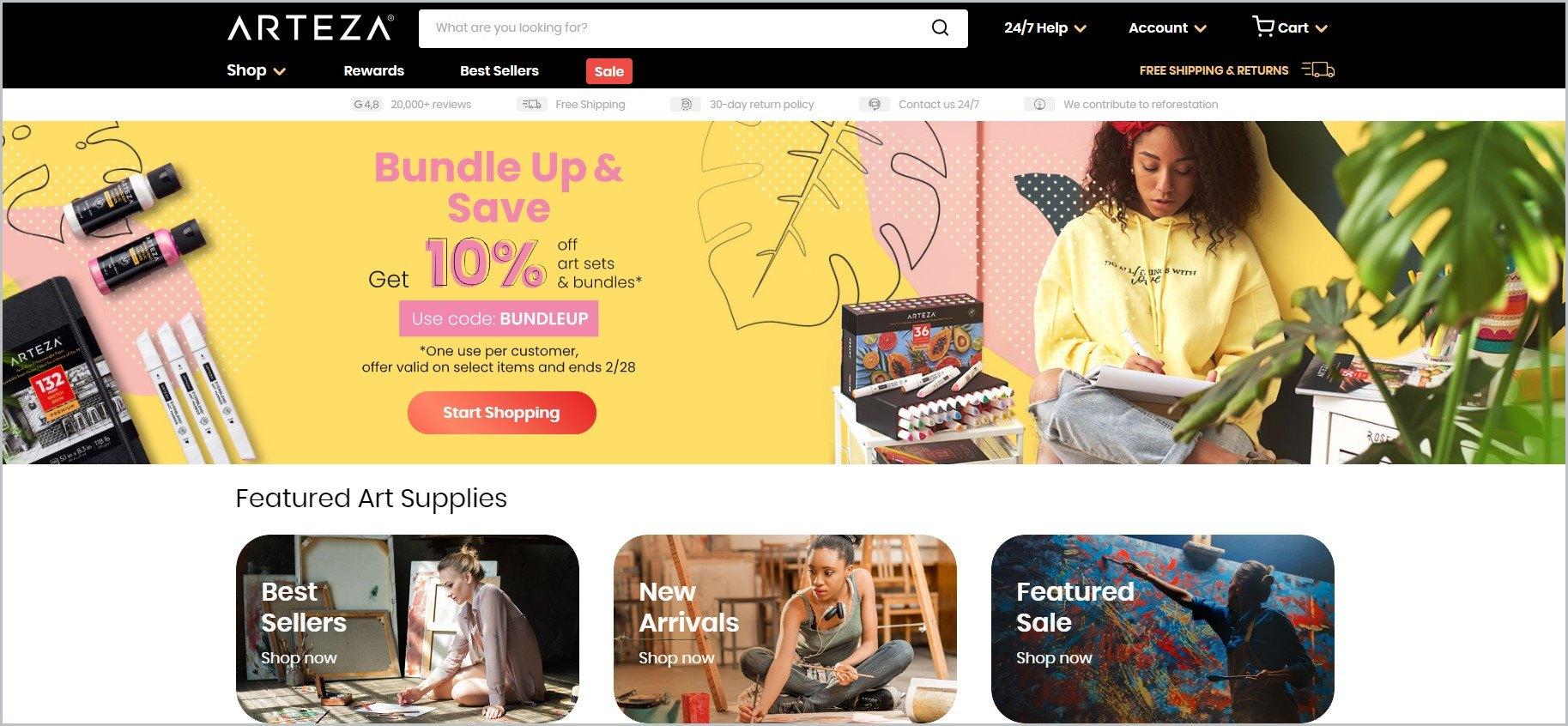 screenshot of Arteza homepage