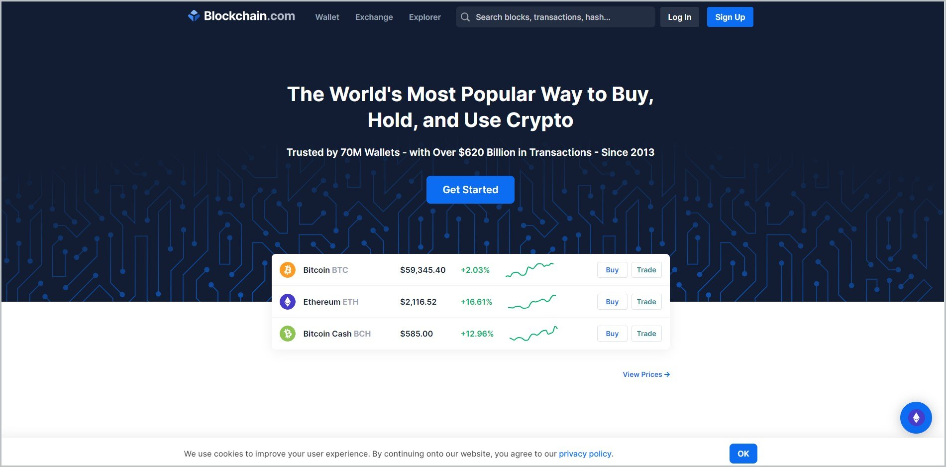 screenshot of Blockchain Exchange homepage which is dominantly black, header bears the website's name and main navigation menu, it also showcases a 'get started' button