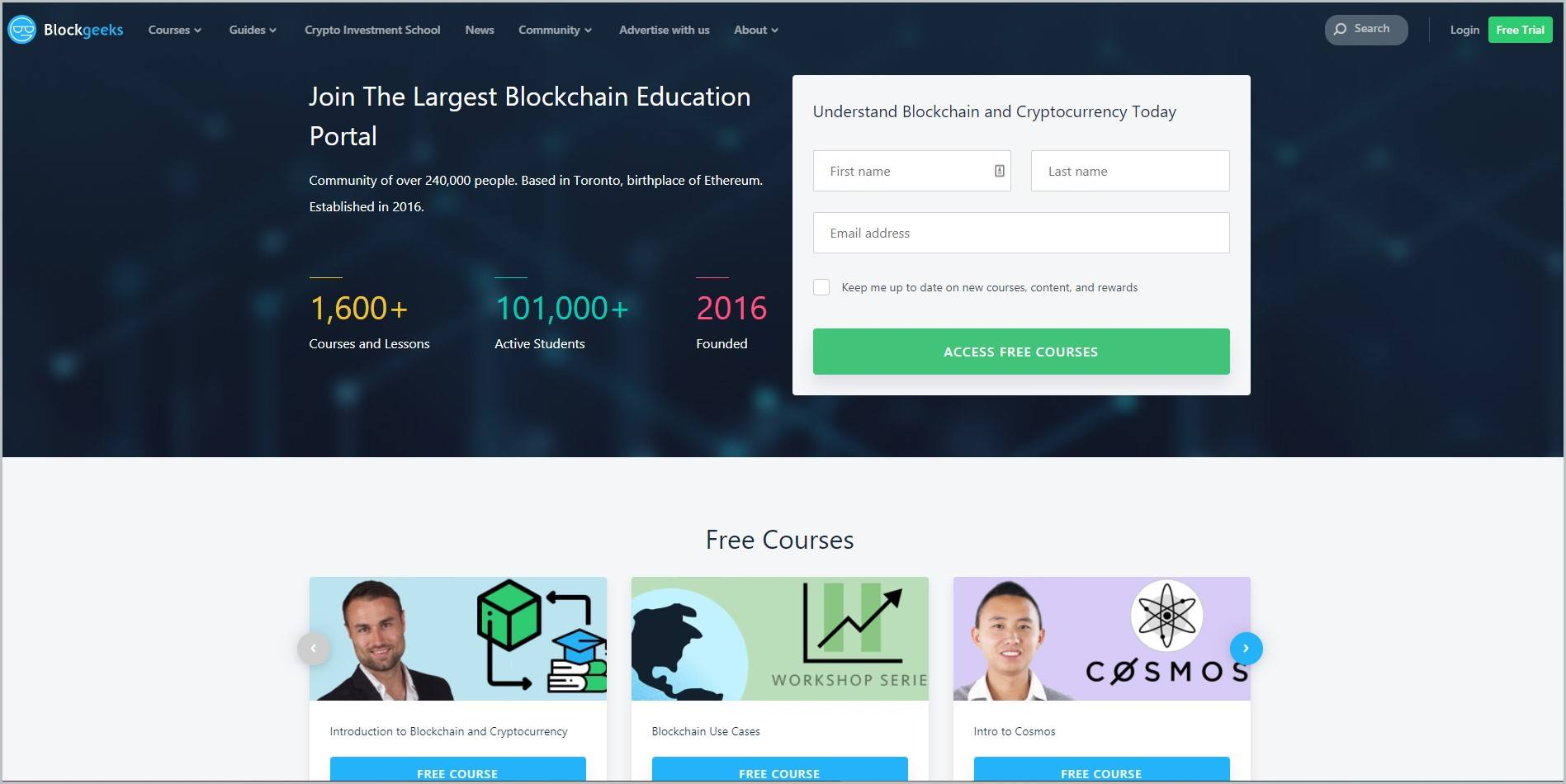 screenshot of Blockgeeks homepage which is dominantly dark blue, header bears the website's name and main navigation menu, it showcases a white signup form for access to a free course