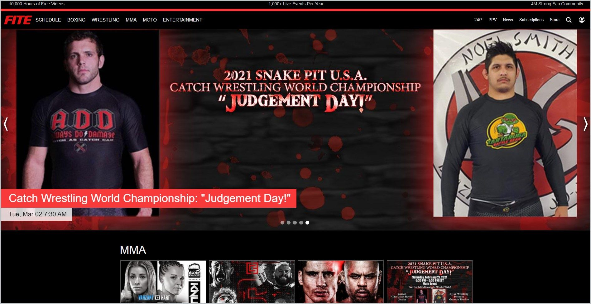 screenshot of FITE homepage showing two MMA Fighters and fight schedule for main image