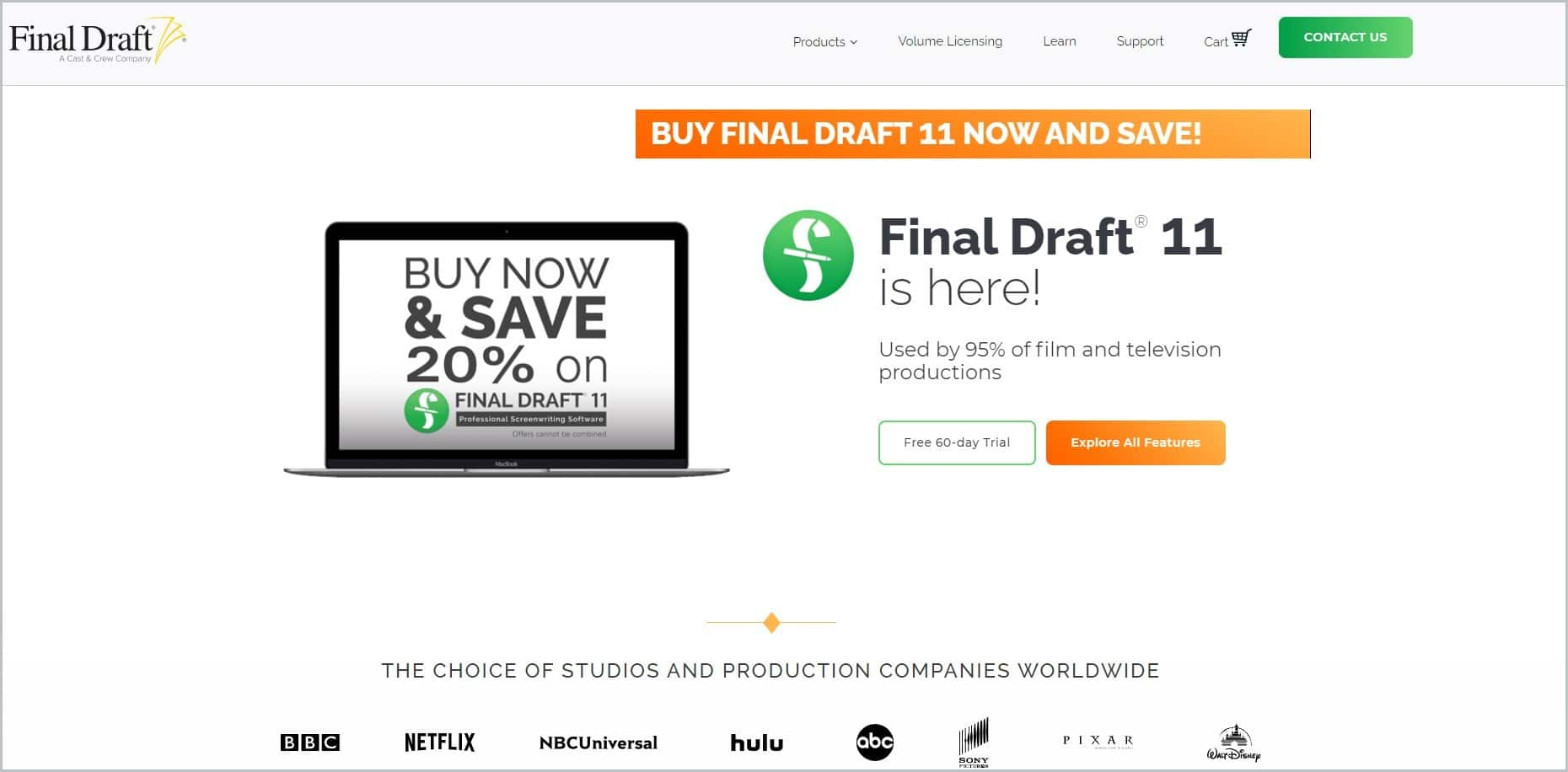 screenshot of Final Draft homepage