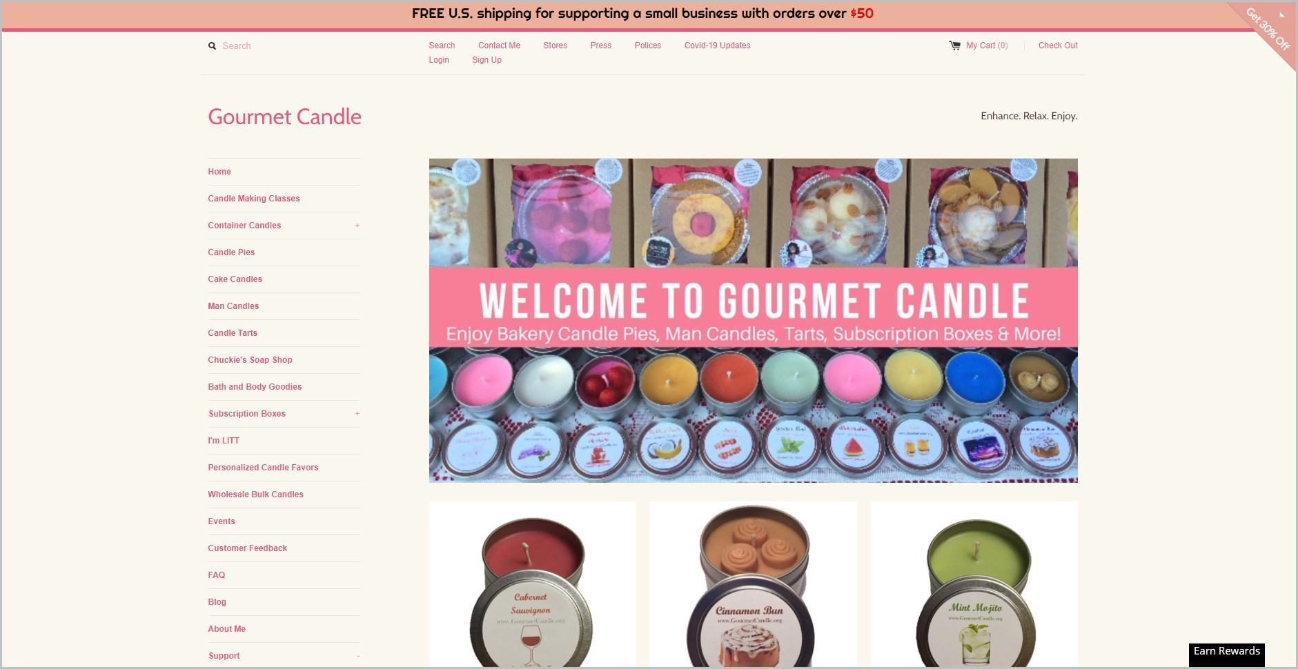 screenshot of Gourmet Candle homepage