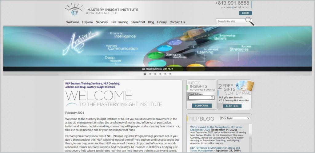 screenshot of Mastery InSight Institute homepage, with grey header with the website's name and main navigation menu, a banner image, and a welcome message
