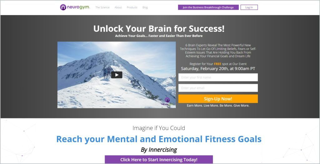 screenshot of NeuroGym homepage, with a signup button and video of snow-covered mountains