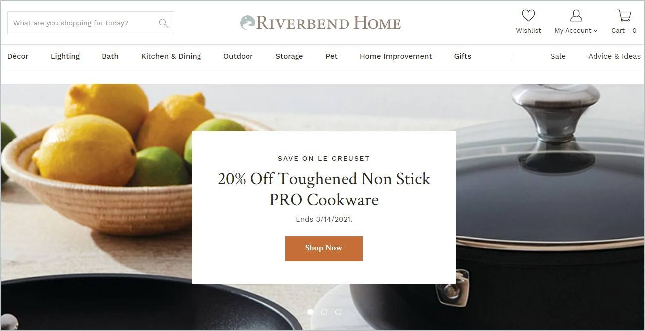 screenshot of Riverbend Home homepage with kitchenware for main image