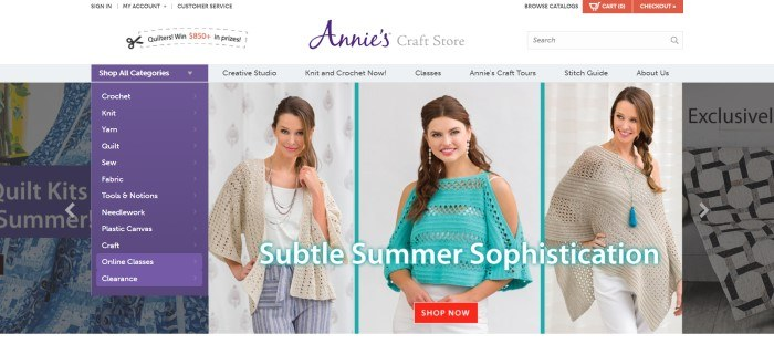This screenshot of the home page for Annie's Craft Store shows three photos of women in knitted apparel, including a cream colored cardigan, an aqua summer sweater, and a beige poncho.