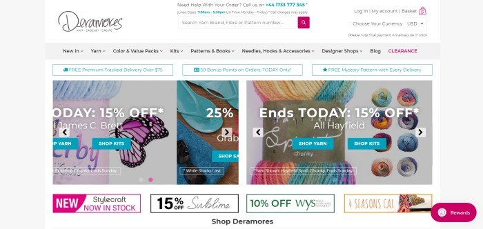 This screenshot of the home page of Deramores shows three photos--one of blue yarn, one of blue flip flops, and one of bright variegated yarn--along with advertisements for sales of 15% off, 25% off, and 15% off respectively.