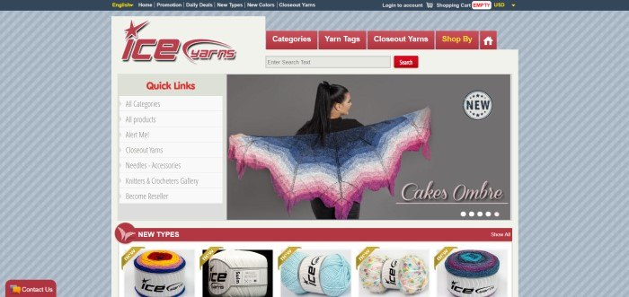 This screenshot of the home page for Ice Yarns shows a gray striped background, red logo, and a photo of a woman with a blue and pink knitted scarf above a row of photos showing new types of yarn.