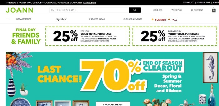 This screenshot of JoAnn Fabrics and Crafts shows two 25% off coupons near the top of the page and a photo showing a variety of floral and framed decorations with a bold yellow-texted 70% off advertisement for a spring and summer décor sale.