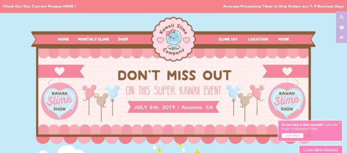 This screenshot of the Kawaii Slime homepage has a light blue background with pink and dark pink graphics announcing a super event that was held in July 2019 and a dark pink navigation bar with white lettering.