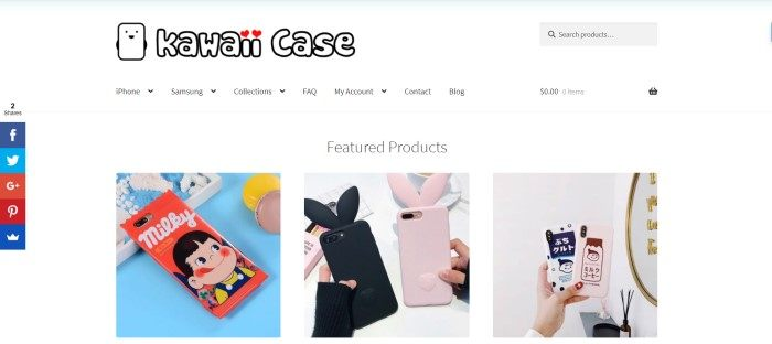 This screenshot of the homepage for Kawaii Case has a white background with photos of three featured kawaii-decorated mobile phone cases.