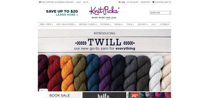 This screenshot of the home page for KnitPicks shows a photograph of a variety of colors of skeins of yarn lying in a row and an advertisement in black lettering for a new type of yarn.