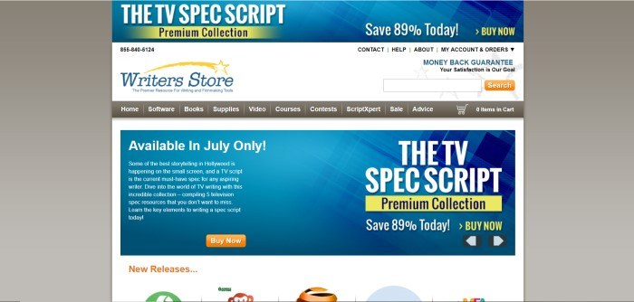This screenshot of the home page for Writers Store includes a white background with the writer's store logo in the top left-hand corner of the screen, a brown navigation bar, and a blue text box with white lettering describing a premium TV scriptwriting service available for a short time.