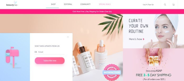This screenshot of the homepage for beauty tap shows photo of three skincare products on a white table near a peach-colored wall with some green leaves overshadowing them, as well as a pink, white, and blue subscription box for email updates on the left side of the page and some information on how to curate your own beauty routine on the right side of the page.