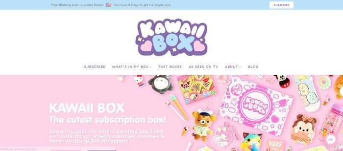This screenshot of the homepage for Kawaii Box has a white background with a pink window showing the various items that could come in a subscription box, along with text in white lettering announcing this company's cute kawaii items.
