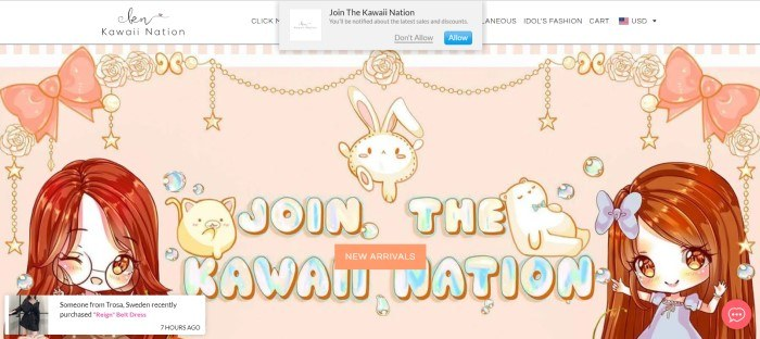 This screenshot of the homepage for Kawaii Nation shows a pale peach background with various kawaii graphics on it, including girls, bunnies, and stars, along with the words