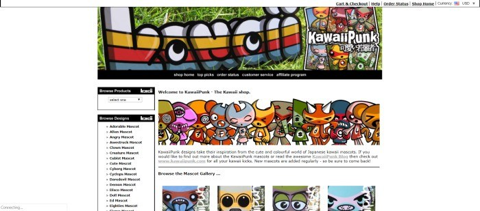 This screenshot of the homepage for Kawaii Punk has a white background, a large Kawaii Punk multi-colored banner, and an image of several Kawaii Punk mascots standing in a row.