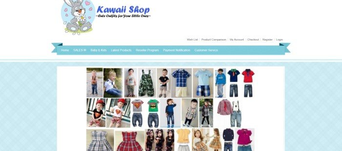 This screenshot of the homepage for Kawaii Shop has a white and light blue background with several small photos of children in cute kawaii outfits.