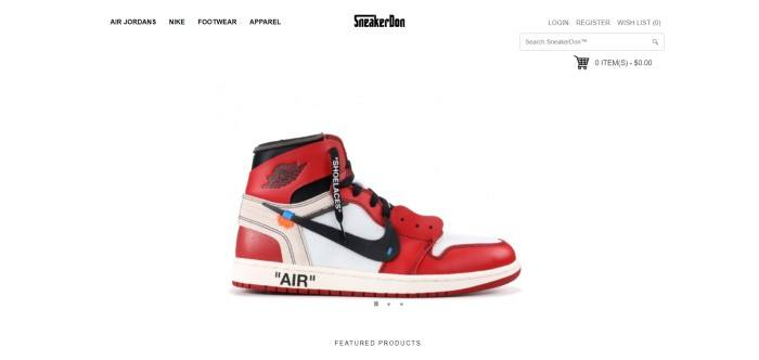 This screenshot of the homepage for SneakerDon shows a single red, white, and black
