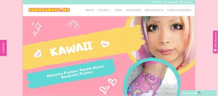 This screenshot of the homepage for SugarSweetMe has a pink, yellow, and aqua background with white outlines of stars, rainbows, and hearts, and a photo on the right side of the page of a young woman wearing kawaii clothing and makeup.