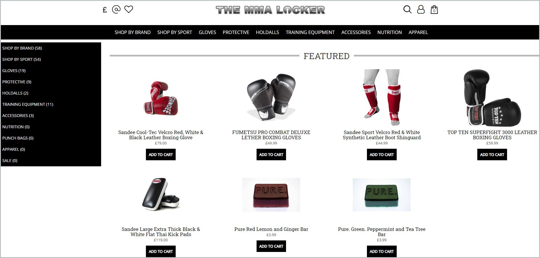 screenshot of The MMA Locker homepage with showcasing the images of the products they offer
